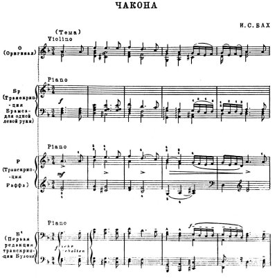 Transcriptions of Bach's Chaconne
