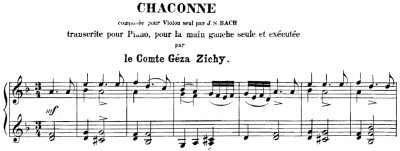 Bach=Zichy/ Chacconne for left hand only