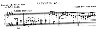 Bach=Joseffy/ Gavotte for left hand only