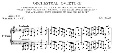 Bach=Rummel/ Orchestral Overture from Cantata BWV 146