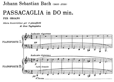 Bach=Tagliapietra/ Passacaglia in C minor BWV 582 (free transcription for two pianos)