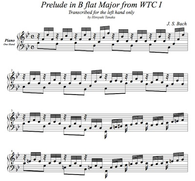 J. S. Bach/ Prelude in B flat Major from WTC Book 1 BWV 866, arranged for left hand only by Hiroyuki Tanaka.